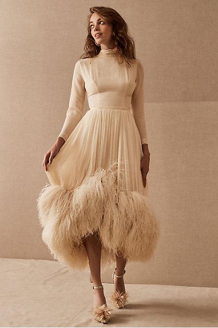 Vintage 1950s Silk & Ostrich High-Low Gown