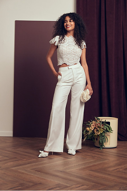 Willowby by Watters Sariah Top & The Tailory New York x BHLDN Joanie Suit Pant