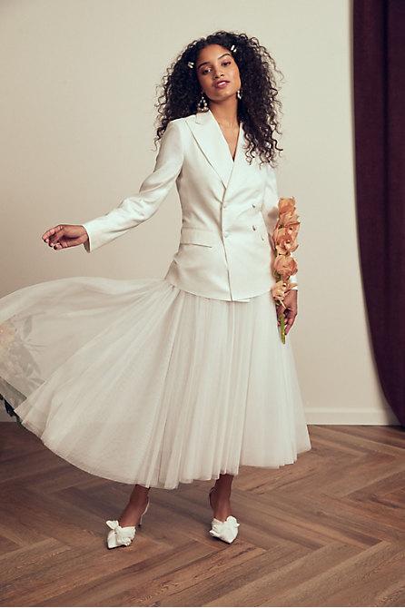 The Tailory New York x BHLDN Westlake Suit Jacket & Nouvelle Amsale Nandita Skirt