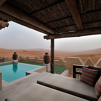 The luxurious rooms in the Qasr Al Sarab Desert Resort feature Baldwin's Archetypes hardware.