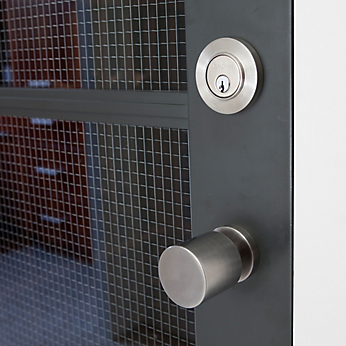 The 5061S Estate Knob is elegantly paired with the 8244 Contemporary Deadbolt on entry doors throughout the home.
