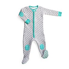 image of baby deedee® Sleepsie® Footed Pajama in Heather Grey/Teal