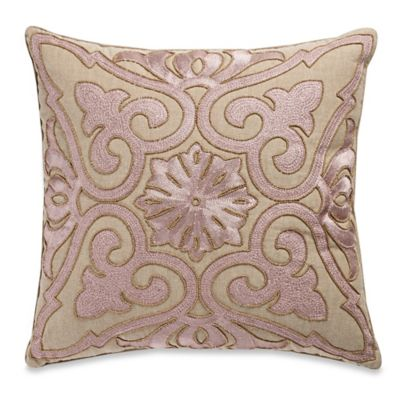 Buy Beaded Damask Aari Embroidered Square Throw Pillow in Rose Gold from Bed Bath & Beyond