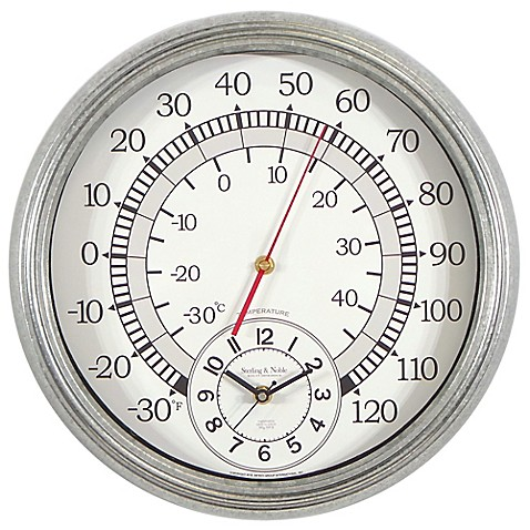 Sterling & Noble Indoor/Outdoor Galvanized Metal Thermometer Wall ...