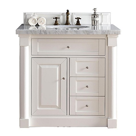 Buy New Haven 36 Inch Single Vanity With Absolute Black Rustic Stone Top In Cottage White From