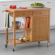 Linon Home Bamboo Rolling Kitchen Island
