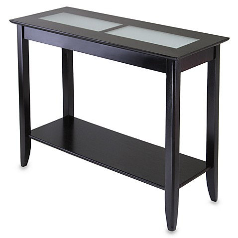 Loren Console End Table With Frosted Glass Tiles Bed