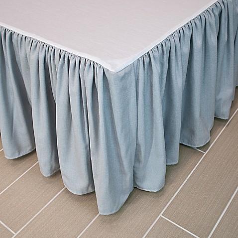 horn 174 classics abigail bed skirt in aqua blue beige