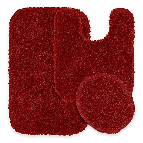 buy serendipity 3 piece nylon bath rug set in chili pepper red from bed bath beyond. Black Bedroom Furniture Sets. Home Design Ideas