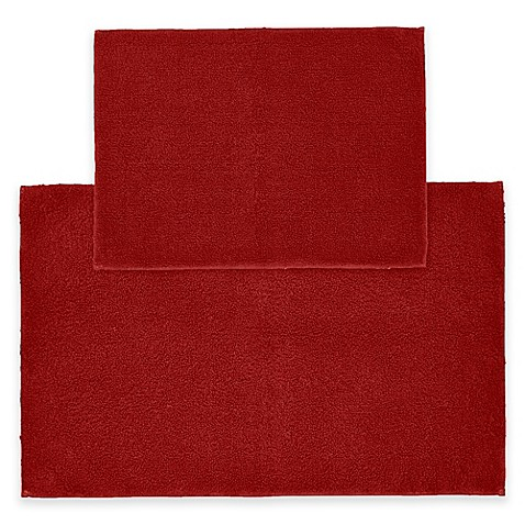 buy queen 2 piece cotton bath rug set in chili pepper red from bed bath beyond. Black Bedroom Furniture Sets. Home Design Ideas