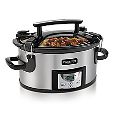 image of Crock-Pot® 6-Quart Portable Slow Cooker in Stainless Steel/Black