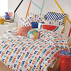 image of Scribble Check Mark Duvet Cover Set in Red/Navy