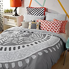 image of Scribble Medallion Duvet Cover Set in Grey