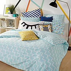 image of Scribble Zig-Zag Reversible Duvet Cover Set
