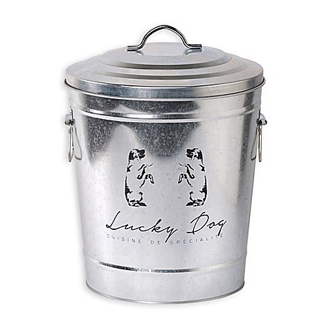 buy galvanized steel lucky dog pet food storage bin with lid from bed bath beyond. Black Bedroom Furniture Sets. Home Design Ideas