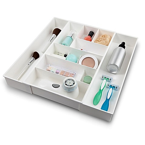Expandable Plastic Cosmetic Drawer Organizer In White