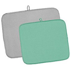 image of 2-Piece Dish Drying Mat Value Pack in Grey/Aqua