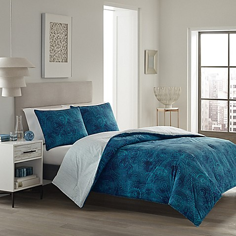 Buy city loft alana reversible king comforter set in aqua for Reverse loft bed