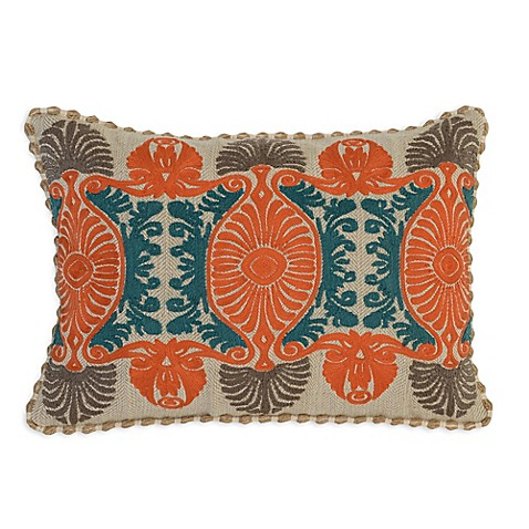 Villa Home Decorative Pillows : Villa Home Dhurri Oblong Throw Pillow in Teal/Orange - Bed Bath & Beyond