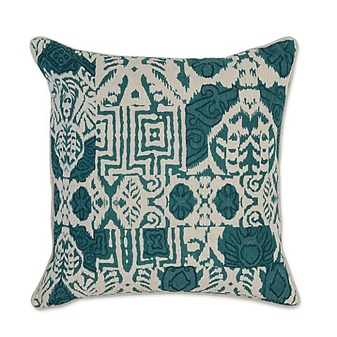 Villa Home Leon Suf 22-Inch Square Throw Pillow in Ivory/Teal - Bed Bath & Beyond