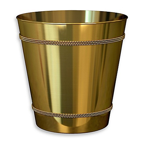 Wastebasket beaded metal trash can kitchen bathroom for Gold bathroom wastebasket