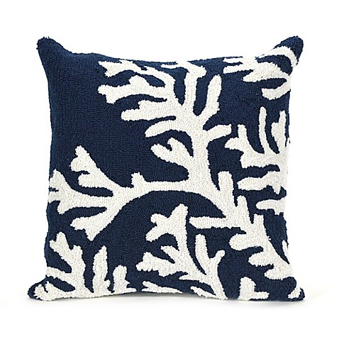 Buy Liora Manne Coral Indoor/Outdoor Throw Pillow in Navy from Bed Bath & Beyond
