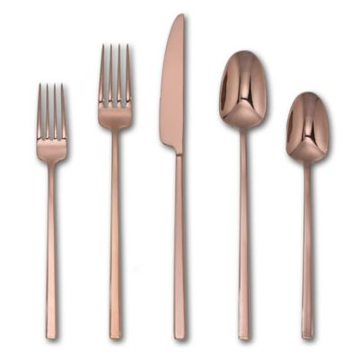 image of Artisanal Kitchen Supply® Edge Mirror 20-Piece Flatware Set in Copper