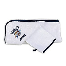 image of Designs by Chad and Jake NBA Oklahoma Thunder Personalized Hooded Towel Set in White