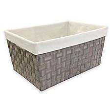Image Of Mystic Apparel Basket Weave Storage Bin With Liner In Grey
