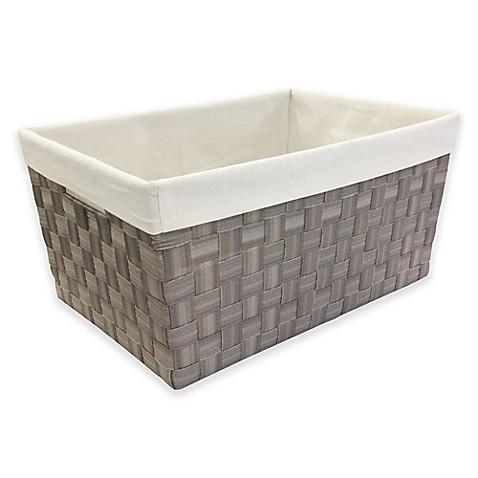 Mystic Apparel Basket Weave Storage Bin With Liner In Grey Bed Bath Beyond
