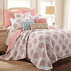 image of Coral Breeze Reversible Quilt in Coral
