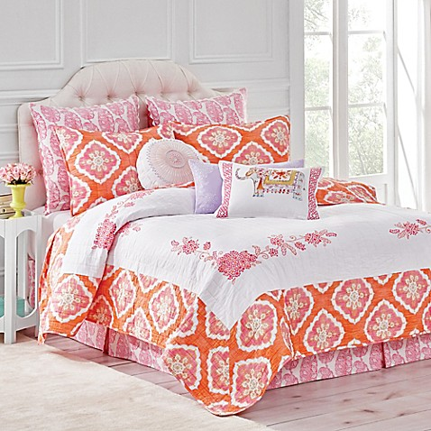 Dena™ Home Amara Reversible Quilt in Coral - Bed Bath & Beyond : dena home sunbeam quilt - Adamdwight.com