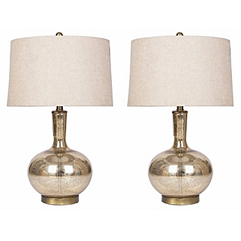 Abbyson Living Mercury Glass Table Lamps In Gold (Set Of 2)