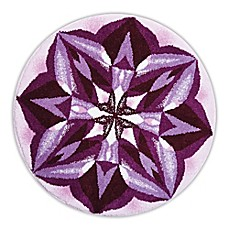 image of Grund Purple Rain Designer Mandala Round Bath and Accent Rug in Purple