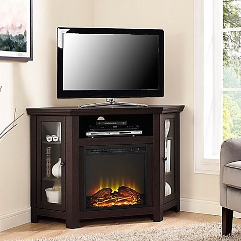 Buy walker edison 48 inch corner fireplace tv stand in espresso from bed bath beyond - Space saving corner electric fireplace providing warmth for your small space ...