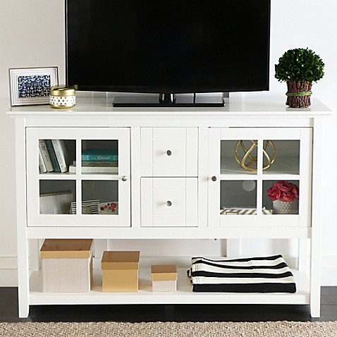 buy walker edison 52 inch wood console table tv stand in white from bed bath beyond. Black Bedroom Furniture Sets. Home Design Ideas