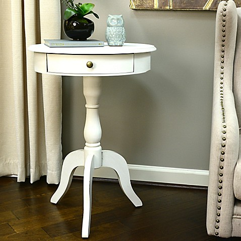 Decor Therapy Round Pedestal Side Table In White Bed