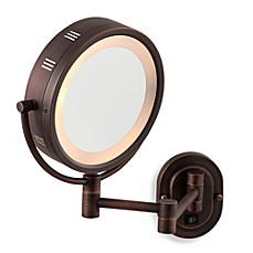 image of Jerdon 5X/1X Bronze Lighted Hardwired Wall Mount Mirror