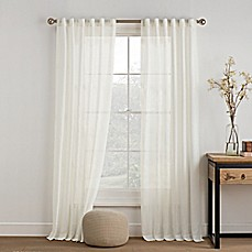 image of KAS ROOM Carina Sheer Rod Pocket Window Curtain Panel in Ivory