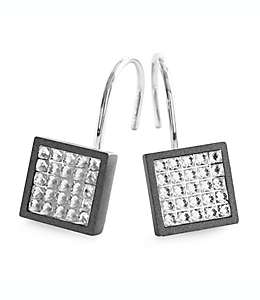 Ganchos para cortina de baño de aluminio Glitz® color gris carbón, Set de 12