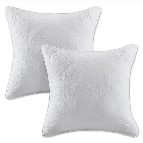 Buy Madison Park Quebec 20-Inch Square Throw Pillows in White (Set of 2) from Bed Bath & Beyond