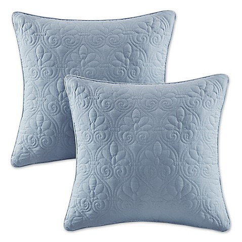Madison Square 18-Inch Decorative Pillows : Buy Madison Park Quebec 20-Inch Square Throw Pillows in Blue (Set of 2) from Bed Bath & Beyond