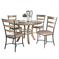 image of Hillsdale Charleston 5-Piece Round Dining Set with Ladder Back Chairs