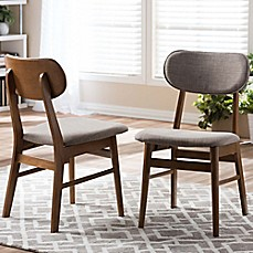 image of Baxton Studio Sacramento Side Chairs in Walnut/Grey (Set of 2)