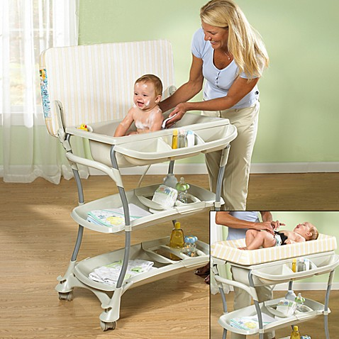 Primo euro spa baby bath tub and changing table buybuy baby for Changing table for bathroom