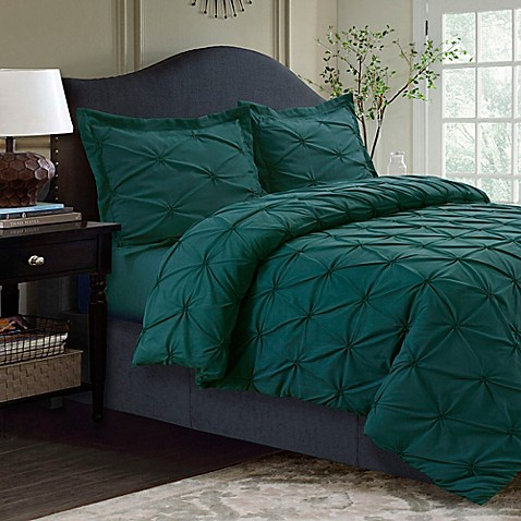 buy tribeca living sydney pintuck king duvet cover set in teal from bed bath beyond. Black Bedroom Furniture Sets. Home Design Ideas