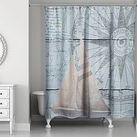 Designs Direct North Star Sail Shower Curtain In Blue Beige