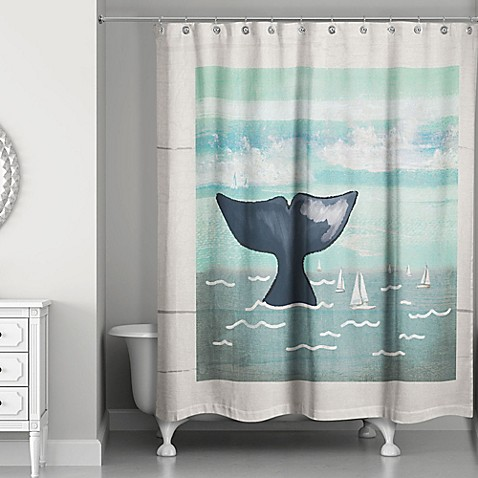 Designs Direct Whale Tail Shower Curtain In Blue Beige Bed Bath Beyond