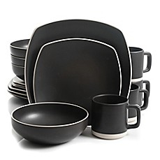 image of Artisanal Kitchen Supply® Edge 16-Piece Square Dinnerware Set in Graphite