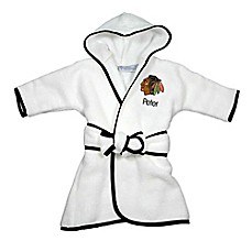 image of Designs by Chad and Jake NHL Chicago Blackhawks Personalized Hooded Robe in White